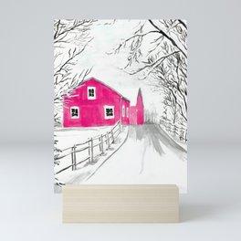 Red Barn in the Snow Mini Art Print