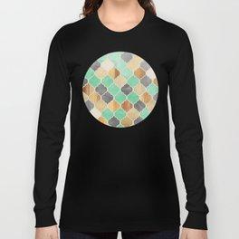 Charcoal, Mint, Wood & Gold Moroccan Pattern Long Sleeve T-shirt