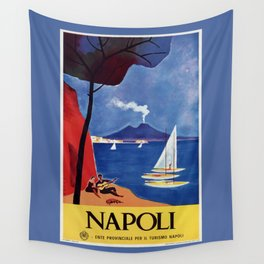 Napels Italy retro vintage travel ad Wall Tapestry