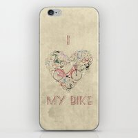 brompton iPhone & iPod Skins featuring I Love My Bike by Wyatt Design