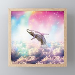 Funny Whale Diving out from the Rainbow Clouds Framed Mini Art Print