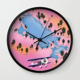 Lake Titicaca, Peru, Bolivia lake map travel poster. Wall Clock
