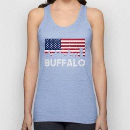 Buffalo NY American Flag Skyline Distressed Unisex Tank Top