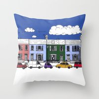 marc johns Throw Pillows featuring St Johns Terrace, Lewes by Richard Ellis