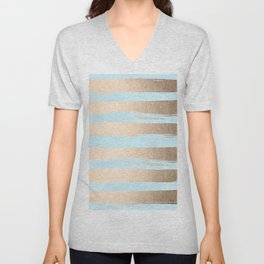 Paint Stripes Gold Tropical Ocean Sea Turquoise Unisex V-Neck