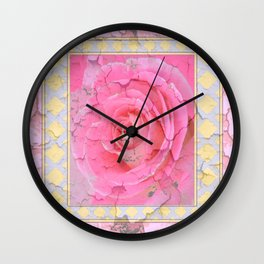SHABBY CHIC PALE PINK  GARDEN ROSE PATTERN PINK ABSTRACT Wall Clock
