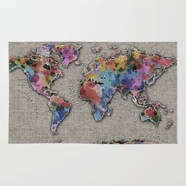 world map splatter vintage Rug