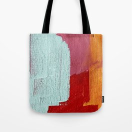Desert Daydreams [2]: a vibrant, colorful abstract acrylic piece in pink, red, orange, and blue Tote Bag