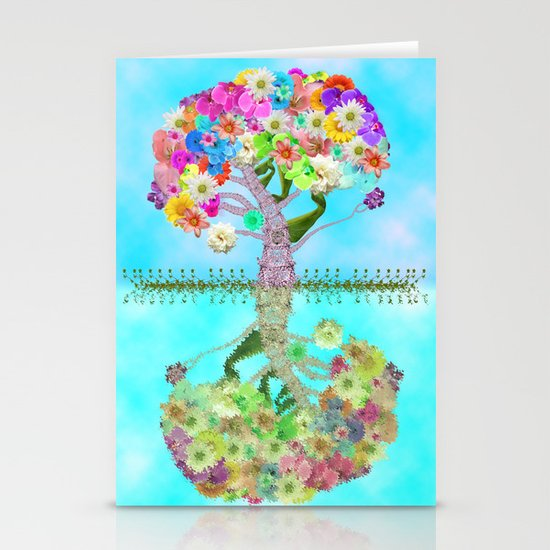 Cute Whimsical Bright Floral Tree Collage Teal Sky Stationery Cards
