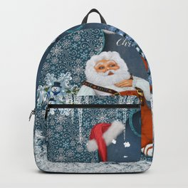 Funny Santa Claus with snowman Backpack