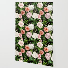 Vintage & Shabby Chic Green Large Dark Floral Camellia  Flowers Watercolor Pattern Wallpaper