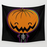 pie Wall Tapestries featuring Cutie Pumpkin Pie by Perdita