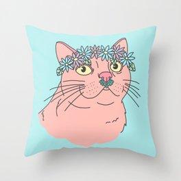Flower crown spring festival boho septum grunge girly kitty cat Throw Pillow