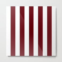 Rosewood red - solid color - white vertical lines pattern Metal Print