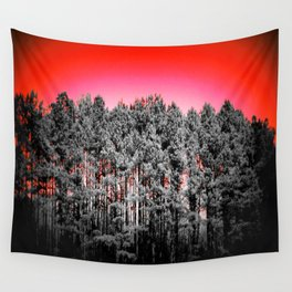 Gray Trees Candy Apple red Sky Wall Tapestry