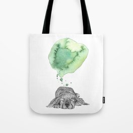 Dreaming Puppy - Green Watercolor Tote Bag