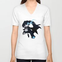 vocaloid V-neck T-shirts featuring Black Rock Shooter by Nozubozu
