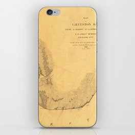 Map of Galveston Bay 1851 iPhone Skin