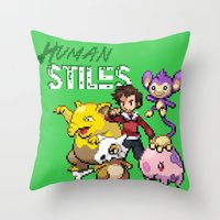 stiles stilinski Throw Pillows featuring PokeWolf: Stiles Stilinski by Trickwolves