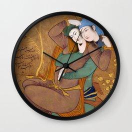 Two Lovers by Riza-yi `Abbasi Wall Clock