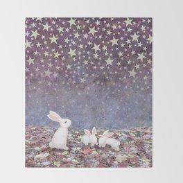 bunnies under the stars Throw Blanket