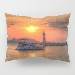 Lighthouse And Yacht Sunset Pillow Sham