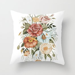 Roses and Poppies Throw Pillow