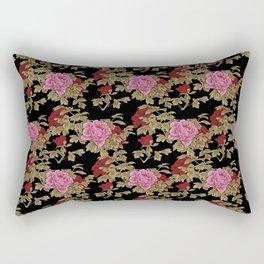 Japanese Peony Floral - Black Rectangular Pillow