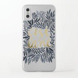 C'est la Vie – Grey & Gold Clear iPhone Case