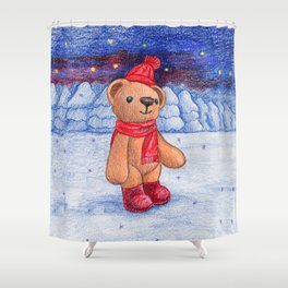 bear with sock cap Shower Curtain
