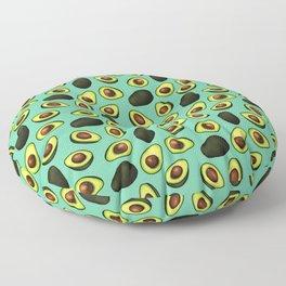 Dancing Millennial Avocados on Aqua, Ditsy print Floor Pillow
