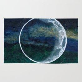 Crescent Moon Mixed Media Painting Rug