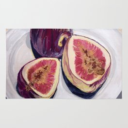Figs on a Plate in Gouache Rug