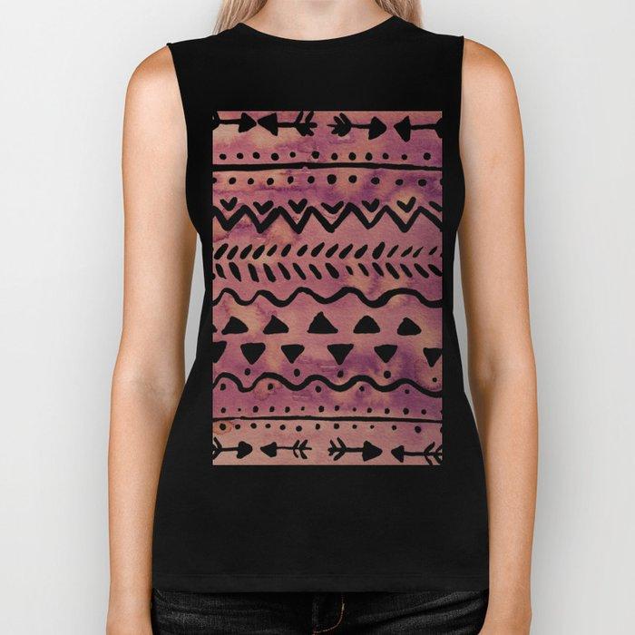 Loose boho chic pattern - purple brown Biker Tank