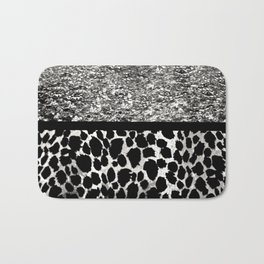Animal Print Leopard Silver and Black Bath Mat