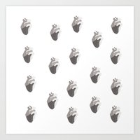 Black heart beat Art Print