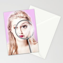 magnifying girl Stationery Cards