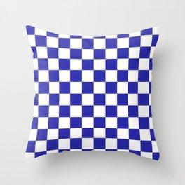 Checkered (Navy & White Pattern) Throw Pillow