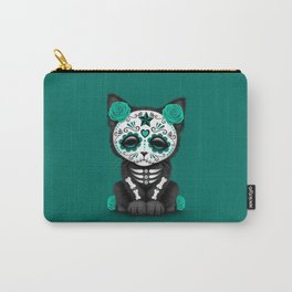 Cute Teal Blue Day of the Dead Kitten Cat Carry-All Pouch