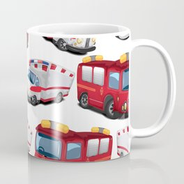 Fire, Police and Ambulance toy car pattern Coffee Mug