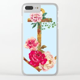 Watercolor anchors and flowers Clear iPhone Case