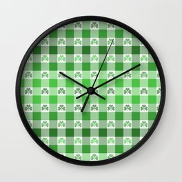 Shamrock Gingham Plaid Ombre Wall Clock
