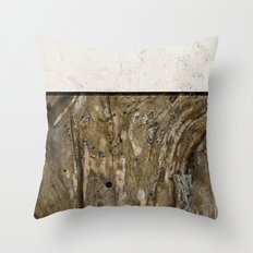 Cream Cement and Gnarled Wood Patterns Throw Pillow