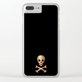 BLACK & ROSE GOLD SKULL Clear iPhone Case