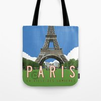 travel poster Tote Bags featuring Paris 2 Travel Poster by Michael Jon Watt