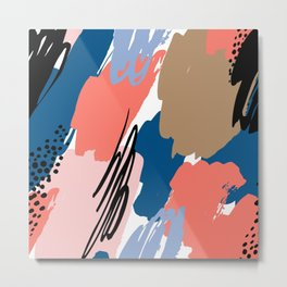 Pastel pink navy blue white abstract brushstrokes pattern Metal Print