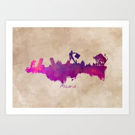 Madrid skyline city Art Print