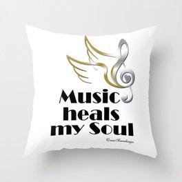 Music heals my soul Throw Pillow