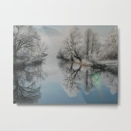 Frosty Tree Reflections Metal Print