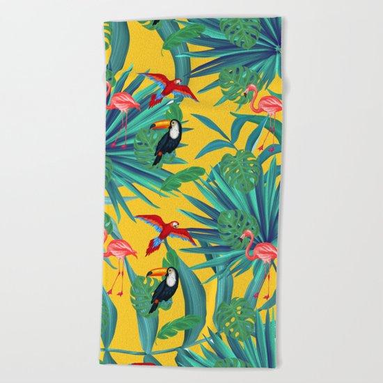 tropical yellow Beach Towel